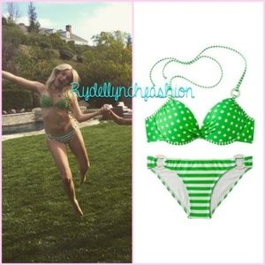 Xhilaration Junior's Green Polka Dot Bikini, M